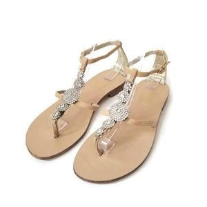 Made in Italy🇮🇹 sandals nude suede crystals sz40